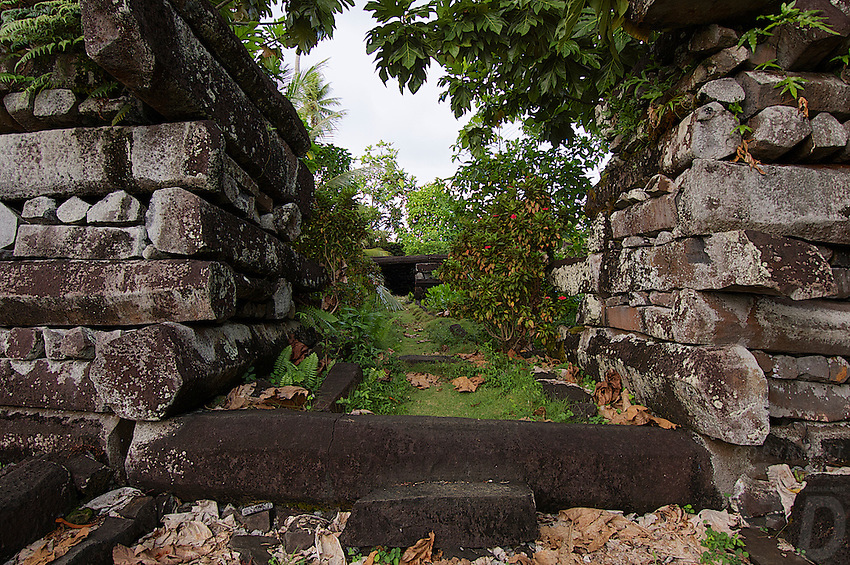 Ruins of Nan Madol the mysterious and ancient stone city at Pohnpei, also called the venice of the Pacific. A slight resemblance to Angkor Wat in style and buildings.
