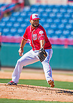 28 February 2016: Washington Nationals pitcher Yusmeiro Petit on the mound during an inter-squad pre-season Spring Training game at Space Coast Stadium in Viera, Florida. Mandatory Credit: Ed Wolfstein Photo *** RAW (NEF) Image File Available ***