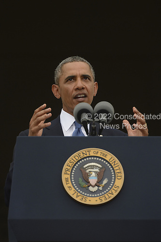 US President Barack Obama delivers remarks during the 'Let Freedom Ring' commemoration event, at the Lincoln Memorial in Washington DC, USA, 28 August 2013. The event was held to commemorate the 50th anniversary of the 28 August 1963 March on Washington led by the late Dr. Martin Luther King Jr., where he famously gave his 'I Have a Dream' speech.<br /> Credit: Michael Reynolds / Pool via CNP