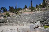 DELPHI, GREECE - APRIL 12 : A detail of the rows of seats of the theatre from the orchestra, on April 12, 2007 in Delphi, Greece. The theatre was built of local Parnassos limestone in the 3rd century BC. The auditorium consists of 35 rows of seats and could accomodate some 5'000 spectators. (Photo by Manuel Cohen)