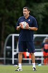 24 September 2015: Syracuse head coach Phil Wheddon (ENG). The University of North Carolina Tar Heels hosted the Syracuse University Orange at Fetzer Field in Chapel Hill, NC in a 2015 NCAA Division I Women's Soccer game. UNC won the game 3-1.