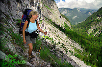 Berchtesgaden National Park, Bavavia, Germany, July 2004.  Jillian on the trail to the Karlinger hut.  We are trekking  from hut to hut in the Bavarian mountains of Berchtesgaden. Photo by Frits Meyst/Adventure4ever.com