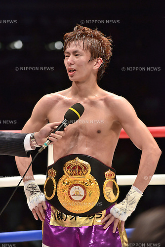 Ryoichi Taguchi (JPN),<br /> MAY 6, 2015 - Boxing :<br /> Ryoichi Taguchi of Japan is interviewed on the ring after winning the WBA light flyweight title bout at Ota-City General Gymnasium in Tokyo, Japan. (Photo by Hiroaki Yamaguchi/AFLO)