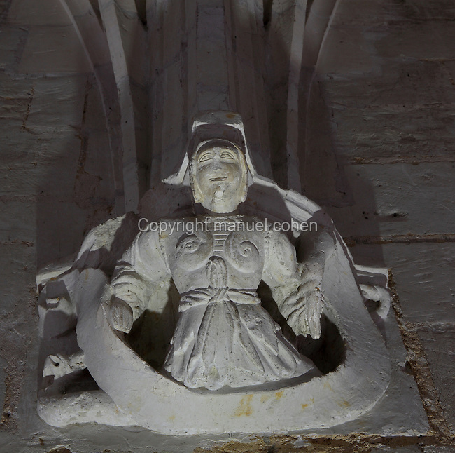 Sculpture of a nun from the refectory of Fontevraud Abbey, Fontevraud-l'Abbaye, Loire Valley, Maine-et-Loire, France. The abbey was founded in 1100 by Robert of Arbrissel, who created the Order of Fontevraud. It was a double monastery for monks and nuns, run by an abbess. The order was dissolved during the French Revolution and the building subsequently used as a prison. Picture by Manuel Cohen