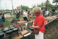 Books and records for sale at a flea market in the Far Rockaway neighborhood of New York in the borough of Queens on September 1, 1996. The flea market was a fund raiser for the Derech Emunah Synagogue after a devastating fire. (© Richard B. Levine)