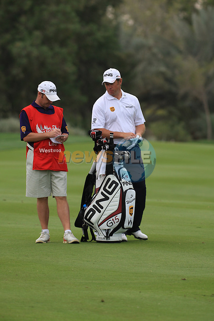 Lee Westwood playing his second shot into the 13th green on day two of the Abu Dhabi HSBC Golf Championship 2011, at the Abu Dhabi golf club, UAE. 21/1/11..Picture Fran Caffrey/www.golffile.ie.