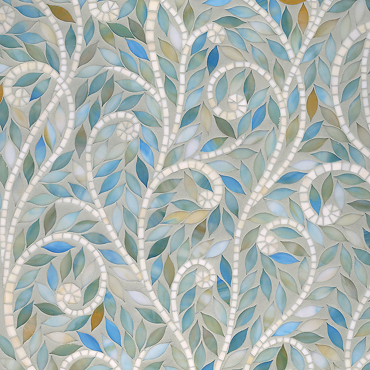 Climbing Vine waterjet mosaic field shown in Aquamarine and Quartz Jewel glass.