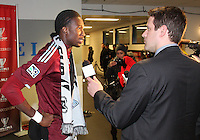 Macouma Kandji#10 is interviewed at MLS Cup 2010 at BMO Stadium in Toronto, Ontario on November 21 2010. Colorado won 2-1 in overtime.