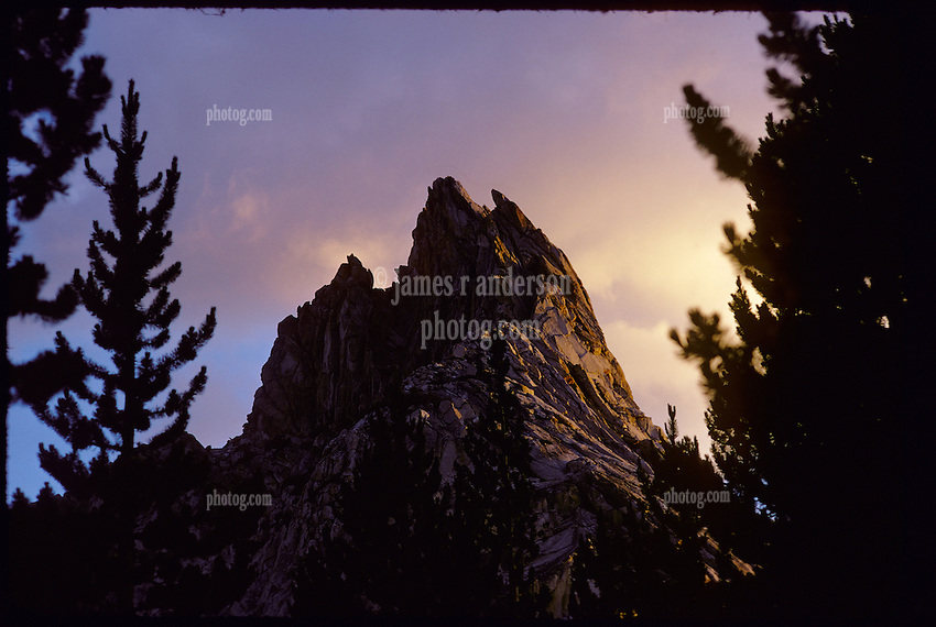 Ragged Peak at Dusk, Young Lakes, Yosemite National Park. View shot on Kodachrome II, Nikon Ftn camera, Nikor 105mm f/2.5 lens, 1 August 1973