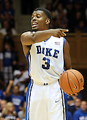 "Tyler Thornton sets up a play for his team. Duke men's basketball had an opening scrimmage game as a part of the ""Countdown to Craziness"" event at Cameron Indoor Stadium Friday Oct. 14, 2011.  Photo by Al Drago..."