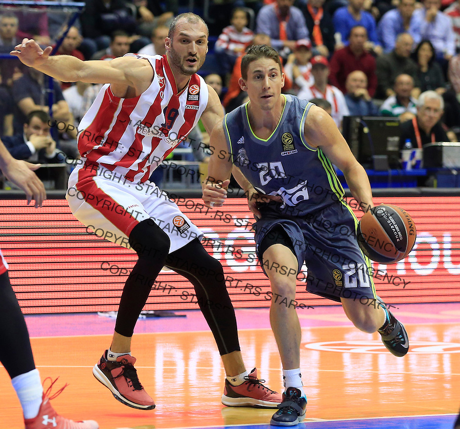 Kosarka Euroleague season 2015-2016<br /> Euroleague <br /> Crvena Zvezda v Real Madrid<br /> Jaycee Carroll and Marko Simonovic (L)<br /> Beograd, 27.11.2015.<br /> foto: Srdjan Stevanovic/Starsportphoto &copy;