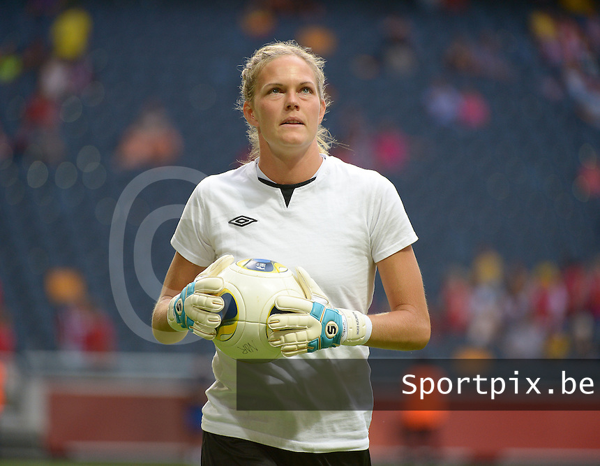 20130728 - Solna , Sweden : Norway goalkeeper Ingrid Hjelmseth pictured during the female soccer match between Germany and Norway , in the final of the UEFA Women's Euro Championship 2013  at the Friends Arena  , Solna Stockholm . Sunday 28th July 2013. PHOTO DAVID CATRY