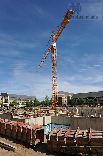 Tower crane at Stinson-Remick hall construction site...Photo by Matt Cashore/University of Notre Dame