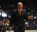 "Miami head coach Jim Larranaga makes a point to the officials during a game against Mississippi at the C.M. ""Tad"" Smith Coliseum in Oxford, Miss. on Friday, November 25, 2011. (AP Photo/Oxford Eagle, Bruce Newman)."