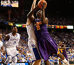 UK forward Kyle Wiltjer tries to block a shot by LSU forward Johnny O'Bryant III during the first half of the men's basketball game vs. LSU at Rupp Arena, in Lexington, Ky., on Saturday, January 26, 2013. Photo by Genevieve Adams  | Staff.