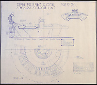 BNPS.co.uk (01202 558833)<br /> Pic: PropStore/BNPS<br /> <br /> Star Wars - Ep VI - Return Of The Jedi: Rebel Briefing Room Interior Blueprint.<br /> <br /> Fascinating blueprints from the early Star Wars and Star Trek films have been unearthed.<br /> <br /> An auction house is selling a selection of blueprints which include front elevations of R2-D2, interior and exterior set renderings of the Millennium Falcon and front, side and bottom views of the USS Enterprise as well as USS Enterprise set plans.<br /> <br /> The blueprints - many of which have never before been seen by the public - provide a unique insight to fans of the iconic films about how they were made.
