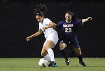 29 September 2011: Duke's Mollie Pathman (24) and Virginia's Erica Hollenberg (23). The Duke University Blue Devils and the University of Virginia Cavaliers played to a 0-0 tie after overtime at Koskinen Stadium in Durham, North Carolina in an NCAA Division I Women's Soccer game.
