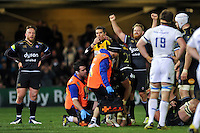 Ross Batty of Bath Rugby raises his arms in celebration at the final whistle. European Rugby Champions Cup match, between Bath Rugby and Leinster Rugby on November 21, 2015 at the Recreation Ground in Bath, England. Photo by: Patrick Khachfe / Onside Images
