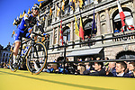 Quick-Step Floors team on stage at sign on before the 101st edition of the Tour of Flanders 2017 running 261km from Antwerp to Oudenaarde, Flanders, Belgium. 26th March 2017.<br /> Picture: Eoin Clarke | Cyclefile<br /> <br /> <br /> All photos usage must carry mandatory copyright credit (&copy; Cyclefile | Eoin Clarke)