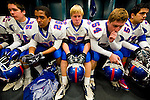 Folsom players sit in the lockerroom before the start of the gema as Grant faces Folsom High School in the Sac-Joaquin Section Division II championship at Hornet Stadium at Sacramento State University, Friday Dec. 3, 2010.Photo Brian Baer.