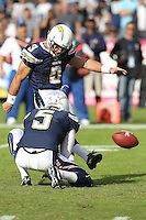 10/24/10 San Diego, CA: San Diego Chargers place kicker Kris Brown #3 during an NFL game played at Qualcomm Stadium between the San Diego Chargers and the New England Patriots. The Patriots defeated the Chargers 23-20.