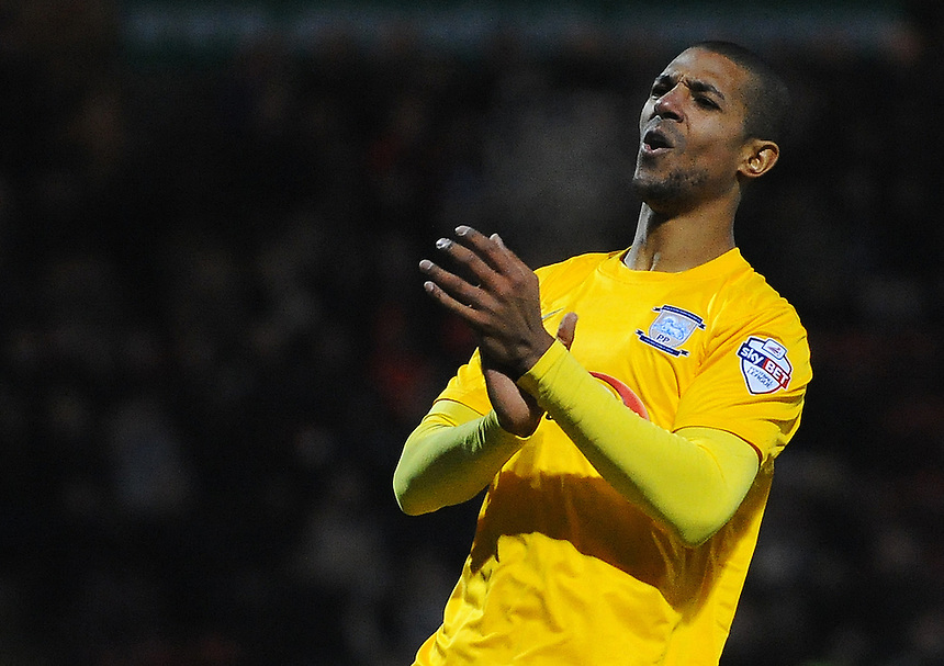 Preston North End's Jermaine Beckford rues a missed chance<br /> <br /> Photographer Kevin Barnes/CameraSport<br /> <br /> Football - The Football League Sky Bet League One - Crewe Alexandra v Preston North End - Sunday 28th December 2014 - Alexandra Stadium - Crewe<br /> <br /> &copy; CameraSport - 43 Linden Ave. Countesthorpe. Leicester. England. LE8 5PG - Tel: +44 (0) 116 277 4147 - admin@camerasport.com - www.camerasport.com