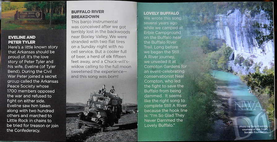 NWA Democrat-Gazette/FLIP PUTTHOFF <br /> A booklet tells the story of each song and includes photos and paintings of the Buffalo River.