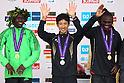 (L to R) Michael Kipyego (KEN), Arata Fujiwara (JPN), Stephen Kiprotich (UGA), .February 26, 2012 - Marathon : .Tokyo Marathon 2012, Medal Ceremony .at Tokyo Big Sight, Tokyo, Japan. .(Photo by Daiju Kitamura/AFLO SPORT) [1045]