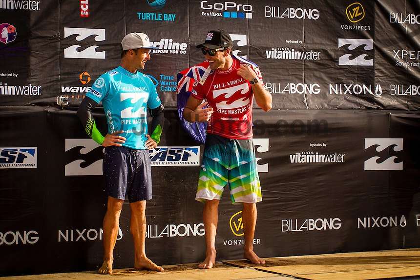 HONOLULU, Oahu, Banzai Pipeline - (Friday, December 14, 2012)  Josh Kerr (AUS) with Jole Parkinson (AUS). -- The Billabong Pipe Masters wrapped up today with the crowning of the 2012 World Title going to Joel Parkinson (AUS) after Josh Kerr (AUS) defeated Kelly Slater (USA) in the second semi final..Photo: joliphotos.com -- The Billabong Pipe Masters wrapped up today with the crowning of the 2012 World Title going to Joel Parkinson (AUS) after Josh Kerr (AUS) defeated Kelly Slater (USA) in the second semi final..Photo: joliphotos.com