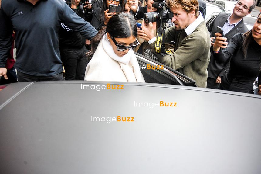 Kim Kardashian and Kanye West arrived in Paris to attend the fashion week.<br /> The couple left the Royal Monceau hotel and went to fBalmain headquarters.<br /> France, Paris, September 24, 2014.<br />  Kim Kardashian et Kanye West &agrave; Paris pour la fashion week.<br /> Kim Kardashian et Kanye West quittent leur h&ocirc;tel, le Royal Monceau, pour se rendre au si&egrave;ge de la maison Balmain &agrave; Paris.<br /> France, Paris, 24 septembre 2014.