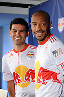 Rafa Marquez (4) and Thierry Henry (14) of the New York Red Bulls on Media Day at Red Bull Arena in Harrison, NJ, on March 15, 2011.