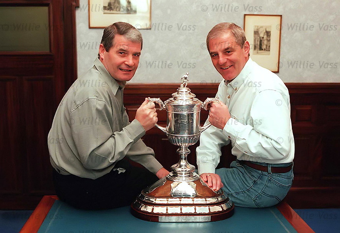 Archie Knox and Walter Smith in the Managers Office in Ibrox Stadium on the Monday morning with the Scottish Cup after Rangers defeated Hearts 5-1