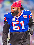 14 December 2014: Buffalo Bills middle linebacker Brandon Spikes concludes his pre-game warm ups prior to facing the Green Bay Packers at Ralph Wilson Stadium in Orchard Park, NY. The Bills defeated the Packers 21-13, snapping the Packers' 5-game winning streak and keeping the Bills' 2014 playoff hopes alive. Mandatory Credit: Ed Wolfstein Photo *** RAW (NEF) Image File Available ***