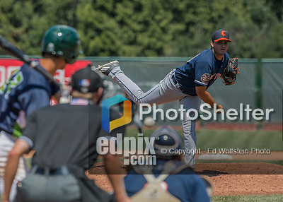 2 August 2016: Connecticut Tigers pitcher Bryan Garcia on the mound against the Vermont Lake Monsters at Centennial Field in Burlington, Vermont. The Tigers defeated the Lake Monsters 7-1 in NY Penn League play.  Mandatory Credit: Ed Wolfstein Photo *** RAW (NEF) Image File Available ***