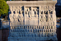 The base of the Egyptian Obelisk of Thutmosis III, (Dikilitas) a centre piece of the Roman Hippadrome, showing Roman Emperor Theodosius offering a laurel wreath to the victor from the Kathisma. Istanbul Turkey