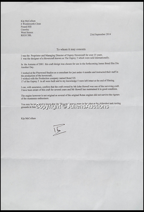 BNPS.co.uk (01202 558833)<br /> Pic: JuliensAuctions/BNPS<br /> <br /> ***Please Use Full Byline***<br /> <br /> The letter of authenticity for the hovercraft in the 007 James Bond film Die Another Day.<br /> <br /> Est: &pound;30,000<br /> <br /> The iconic micro-jet flown by Roger Moore in Octopussy and the swivel chair used by super-villain Blofeld are among a host of props from James Bond movies coming up for sale.<br /> <br /> The 12ft long BD-5J red, white and blue aircraft, that is the world's lightest jet, was piloted by 007 in the opening scenes of Octopussy, outwitting his Cuban captors.<br /> <br /> The aircraft was actually built seven years before the film as part of an air display team and was hired for the 1983 Bond flick.