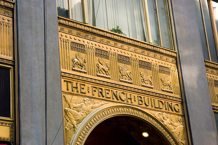 New York City, New York: The French Building architecture  .Photo #: ny255-14583  .Photo copyright Lee Foster, www.fostertravel.com, lee@fostertravel.com, 510-549-2202.