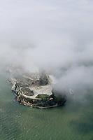 aerial photograph Alcatraz fog San Francisco, California
