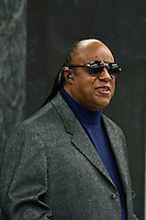 Stevie Wonder attends a meeting to include in the agenda of development to the one billion people who suffer disability During the 68th Session of the UN General assembly in New York,  Sept 23, 2013, Photo by Stringer / VIEWpress.