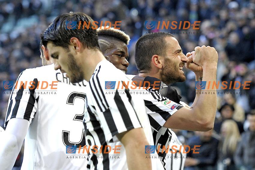Esultanza Leonardo Bonucci e Paul Pogba Juventus dopo gol 2-0, goal celebration,<br /> Torino 06-01-2016, Juventus Stadium, Football Calcio 2015/2016 Serie A, Juventus - Verona, Foto Filippo Alfero/Insidefoto