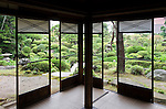 Photo shows  the Kakubuen garden from the first floor reception room of the main building of the Honma Museum of Art in Sakata, Yamagata Prefecture, Japan, on July 06, 2012. Construction of the garden and reception room was started around 200 years ago. Photographer: Robert Gilhooly