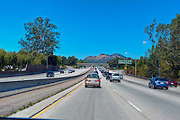 CA-101 Freeway, Newbury Park, CA, Ventu Parkway Exit, limited access, divided highway, with, grade separated, junctions, without traffic lights or stop signs,