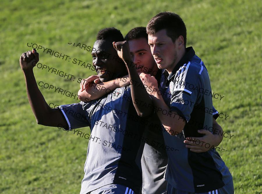 Fudbal Kup Srbije season 2014-2015<br /> Bezanija v Partizan<br /> Ismael Beko Fofana celebrate the goal with Andrija Zivkovic (C) and Nikola Ninkovic (R)<br /> Beograd, 09.24.2014.<br /> foto: Srdjan Stevanovic/Starsportphoto&copy;