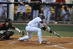 Ole Miss' Alex Yarbrough (2) bunts foul at Oxford-University Stadium in Oxford, Miss. on Friday, March 18, 2011. Ole Miss won 4-0. The Rebels are 15-4 on the season and 1-0 in SEC play.  (AP Photo/Oxford Eagle, Bruce Newman)