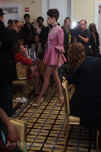 15 September 2010-New York, NY-Model at The LeQuan Smith 2011 Spring/Summer Fashion Show held at The Pennisula Hotel on September 15, 2010 in New York City. ..LaQuan Smith has designed custom fashions for artists including Lady Gaga, Rihanna, Aubrey O'day, Amerie and more. Smith's New York Fashion Week debut was held on February 15, 2010 and he has been featured in many media outlets including The New York Times, New York Daily News and Studio Magazine.