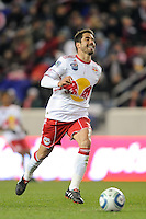 Juan Pablo Angel (9) of the New York Red Bulls during the second half of a Major League Soccer match between the New York Red Bulls and the Chicago Fire at Red Bull Arena in Harrison, NJ, on March 27, 2010. The Red Bulls defeated the Fire 1-0.
