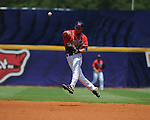 Mississippi's Alex Yarbrough throws to first for an out vs. South Carolina during the Southeastern Conference tournament at Regions Park in Hoover, Ala. on Wednesday, May 26, 2010.Ole Miss won 3-0.