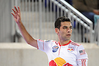 Rafael Marquez (4) of the New York Red Bulls about to take a corner kick. The New York Red Bulls defeated the New England Revolution 2-0 during a Major League Soccer (MLS) match at Red Bull Arena in Harrison, NJ, on October 21, 2010.