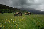 Cattle sheds in  a meadow, background of clouds and mountains. Imst district, Tyrol/Tirol, Austria, Alps.
