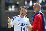 28 August 2016: Duke's Ryan Thompson (14) and Robert Moewes (GER) (right). The Duke University Blue Devils hosted the University of North Carolina Asheville Bulldogs at Koskinen Stadium in Durham, North Carolina in a 2016 NCAA Division I Men's Soccer match. Duke won the game 5-1.